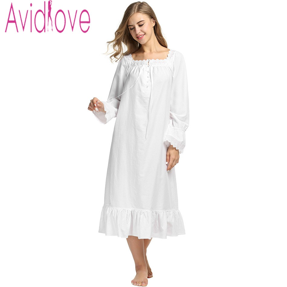 Avidlove Women White Sleep Dress Cotton Long Sleeve Nightgown Sexy Solid  Sleepwear Spring Autumn Home Dress Long Robe For Lady-in Nightgowns    Sleepshirts ... f3f7c95d2