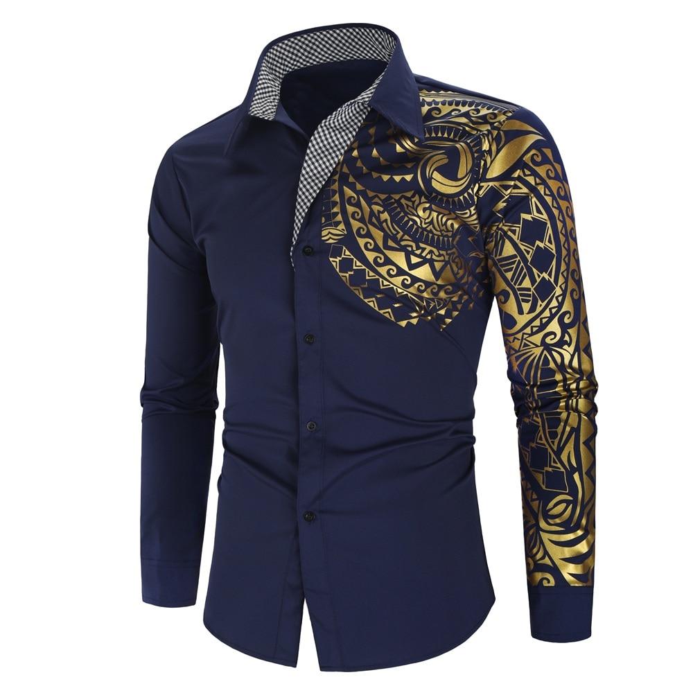Luxury Gold Black Shirt Men New Slim Fit Long Sleeve Camisa Masculina Gold Black Chemise Homme Social Men Club Prom Shirt 7