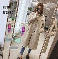 2018 Winter New Korean Long Women Coat Over The Knee Thickening Imitation Lamb Fur Coat Female Slim Loose Warm Jacket ZO1767