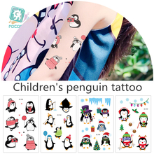 Latest Series Cartoon Christmas Cute Penguin Design Fake Waterproof Stickers For Children ,Animal Temporary  Tattoo Stickers.
