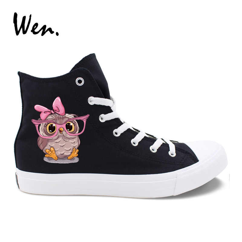 Wen สีดำผ้าใบสีขาวรองเท้าการ์ตูนสัตว์นกฮูกทารกหมวกสีชมพู Bow Tie รองเท้าผ้าใบ Unisex รองเท้าสเก็ตสูงคู่รองเท้า