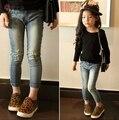 Primavera quente primavera e outono baby baby meninas pentagrama buraco jeans para meninas crianças 3 - 10 anos