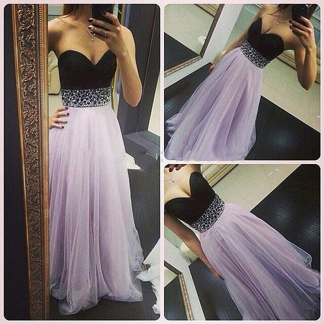 Lilac and Black Prom Dress