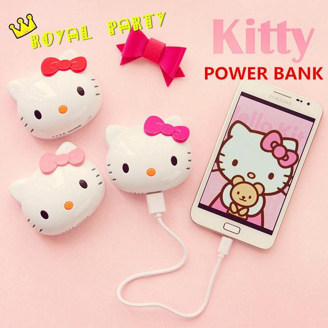 6500 mah moda olá kitty power bank universal bateria externa carregador powerbank bonito dos desenhos animados do gato para o iphone para o telefone móvel