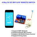 New 4CH 5V DC WIFI Switch schakelaar Multifunction Controlled by Cellphone APP, RF 433mhz Remote Momentary, Self-lock Control