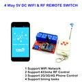 New 4ch 5 v dc interruptor wifi schakelaar multifunções controlada by aplicativo de celular, RF 433 mhz Remoto Momentâneo, auto-bloqueio de Controle