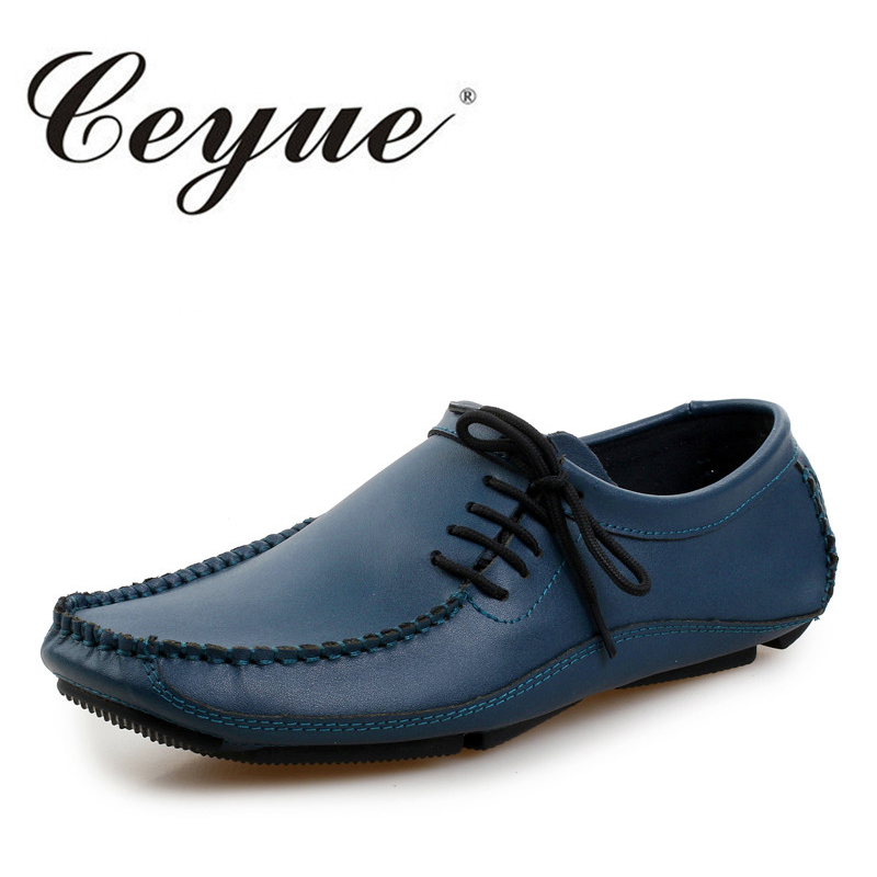 Ceyue New Genuine Leather Men Casual Shoes Cowhide Driving Moccasins Slip On Loafers Men Hot Designer Shoes Flats Big Size 38-47 branded men s penny loafes casual men s full grain leather emboss crocodile boat shoes slip on breathable moccasin driving shoes
