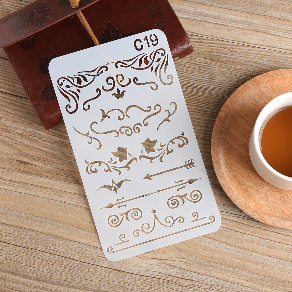 Home 8pc Stencil Building House Child Painting Openwork Diy Scrapbooking Album Decorative Bullet Journal Template Drawing Stencils