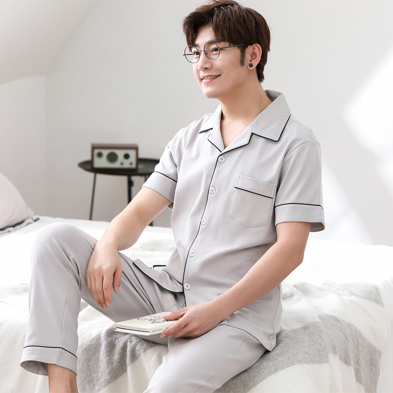Cotton Short Sleeve Pijamas Men Pure Colour Cardigan Pajamas Casual Sleepwear Two Piece Set Pyjamas Plus Size Spring Male Pajama