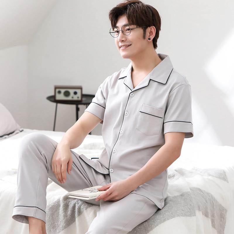 Cotton Short Sleeve Pijamas Men Pure Colour Cardigan Pajamas Casual Sleepwear Two Piece Set Pyjamas Plus Size Spring Male Pajama