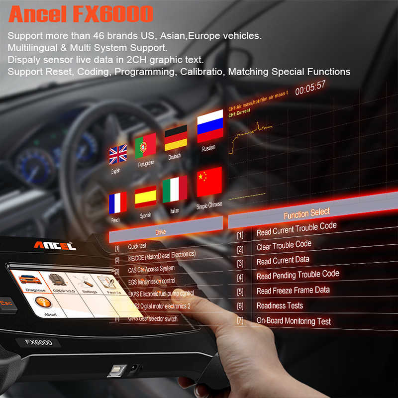 Ancel FX6000 OBD2 Full System Diagnostic Tool for Car EPB DPF Oil Reset  Injector Coding OBD 2 Automotive Scanner Free Update