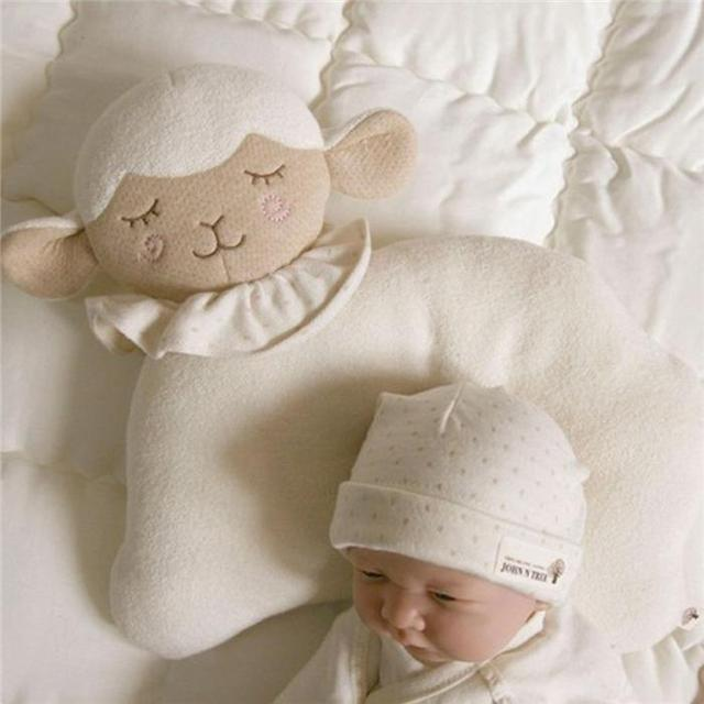 1PC Baby Plush Toys Infant Newborn Sleep Positioner Prevent Flat Head Shape Support Cute White Soft Sheep Pillow