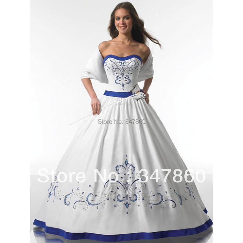 White And Royal Blue Wedding Dresses - Wedding Dress Ideas