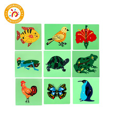 Green Bottom 3D Animals Puzzle Plants Jigsaw Board for Kids Toys Montessori Children Educational Teaching Aids Wooden Puzzles