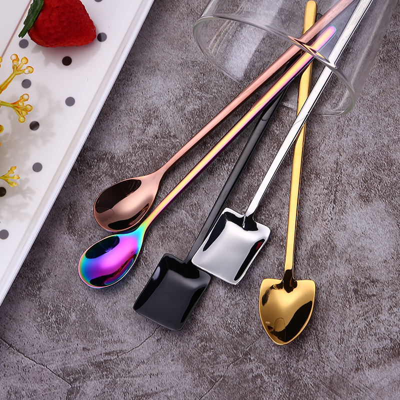 Asipartan Creative New Sharp Square Round Shaped Milk Tea Coffee Stirring Scoop Stainless Steel Coffee Spoon Dessert Spoon CafeAsipartan Creative New Sharp Square Round Shaped Milk Tea Coffee Stirring Scoop Stainless Steel Coffee Spoon Dessert Spoon Cafe