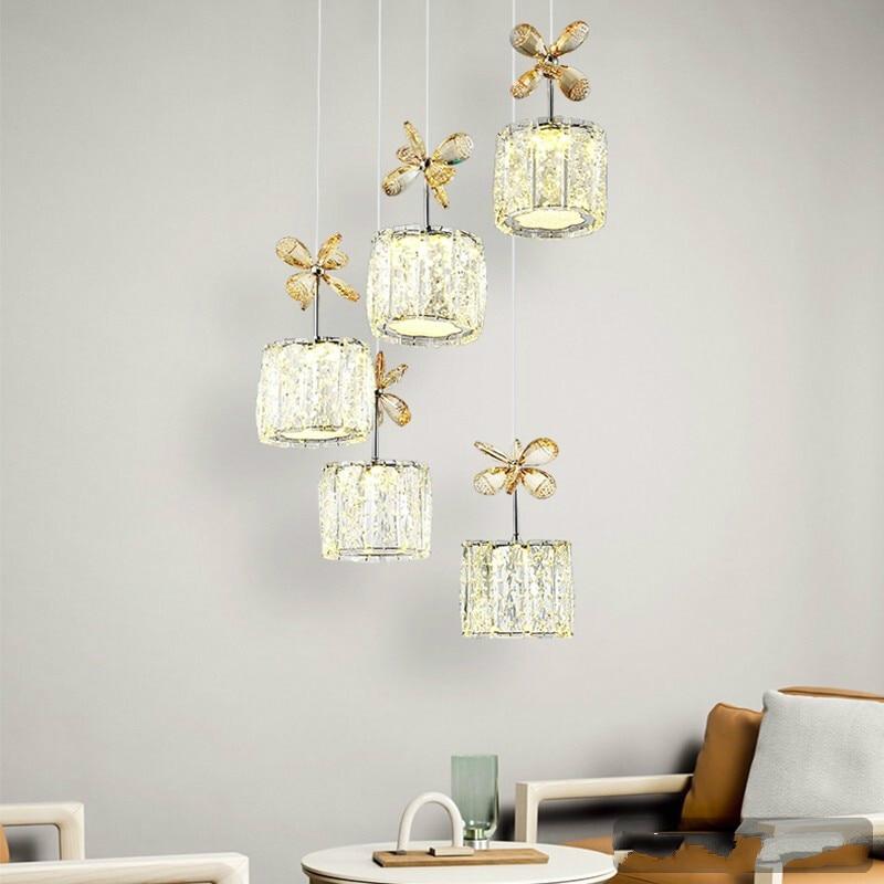 New modern home crystal chandelier warm 5 head chandelier led light luxury dining room pendant lamp ZP4161139