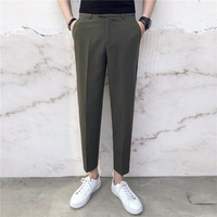 2018 Korean Style Men S Fashion Western Style High Quality Trousers Slim Fit Cotton Suit Pants