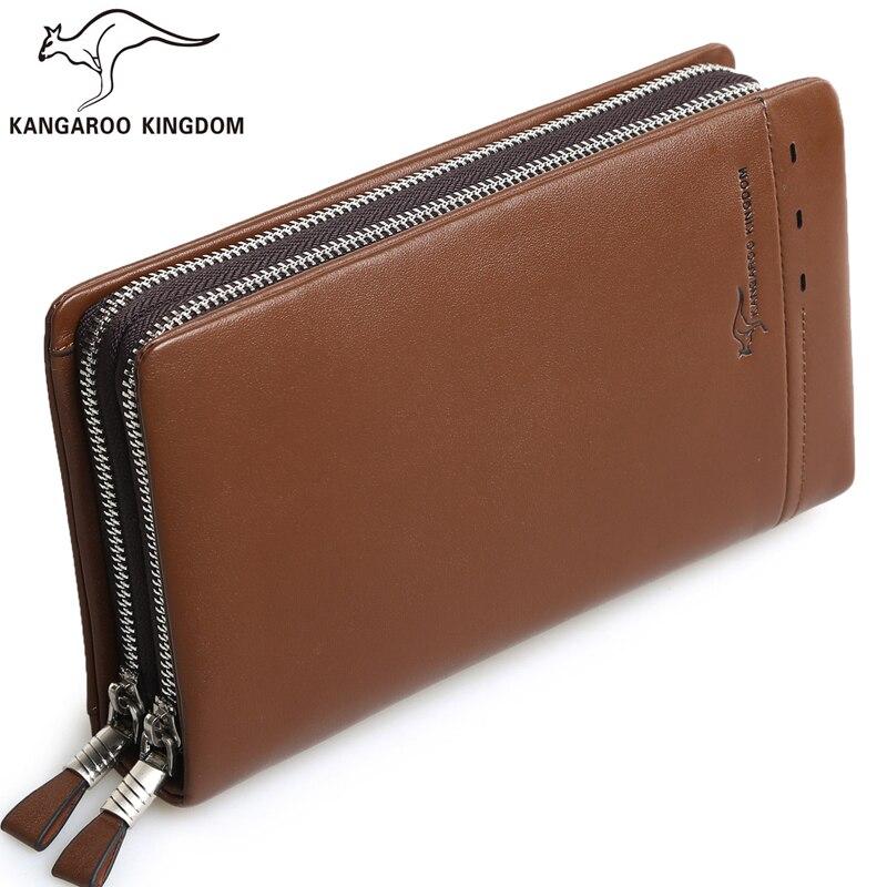 Kangaroo Kingdom Brand Men Bag Large Capacity Genuine Leather Handbag Men Clutch Bags цена