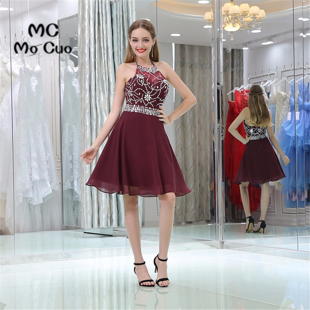 Burgund homecoming kleid mini Crystals cocktail party kleid über ...