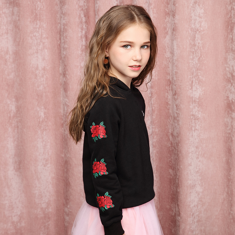 Girls' hooded sweater 2018 new Korean spring and autumn coat children's rose print pullover rabbit print pullover