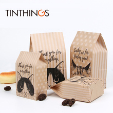30 Pcs kraft paper gift bag Candy cookies bags packing Wedding home Party birthday packaging cat pattern