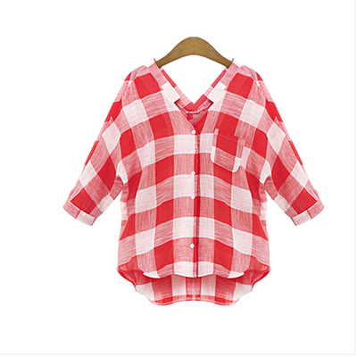 camisas femininas blusas 2020 Casual Loose summer tops female red Plaid blouse shirt women blouses woman clothes plus size S~5XL