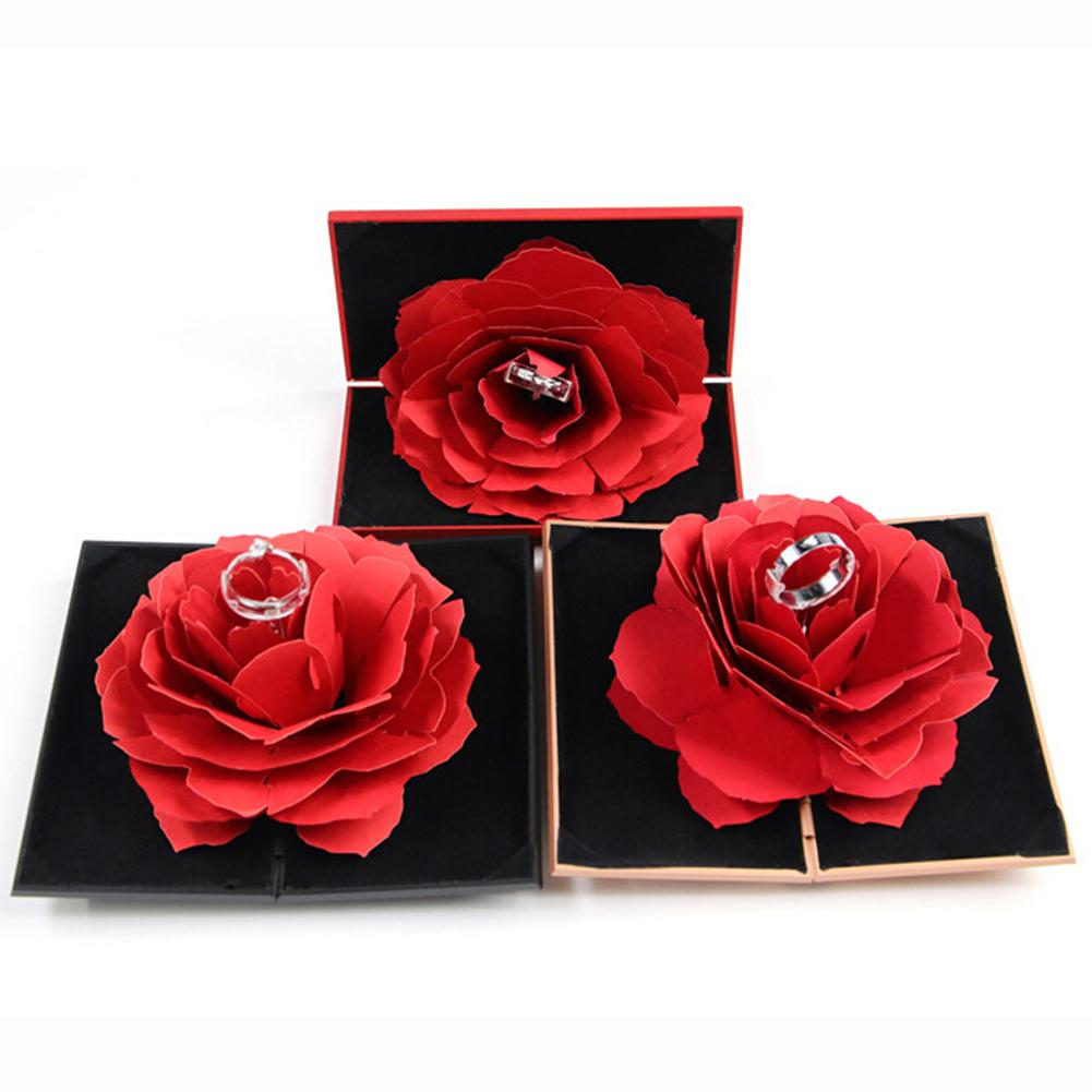 3D Pop Up Red Rose Flower Ring Box Wedding Engagement Box Jewelry Storage Holder Case Jewelry Display Storage