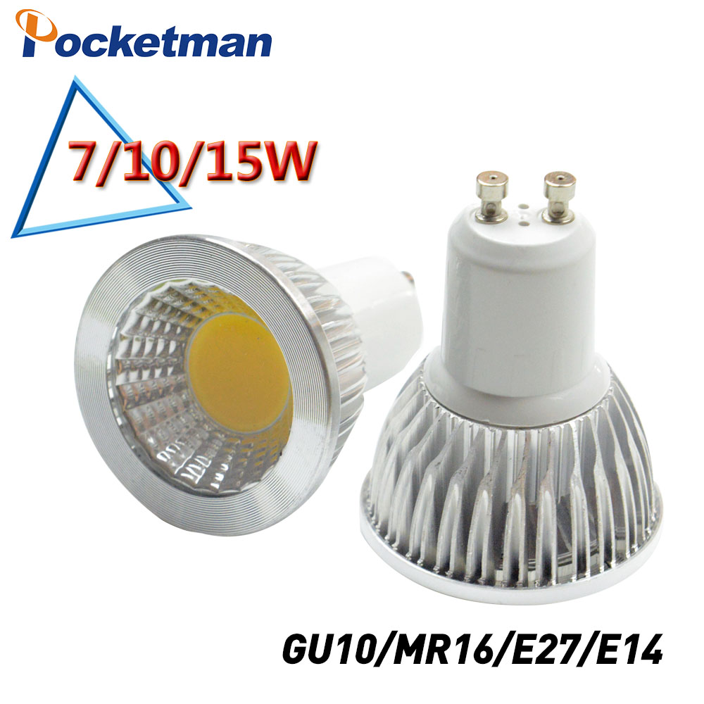 Super Bright GU10 Bulbs Light Dimmable Led Warm/White 85-265V 7W 10W 15W LED GU10 COB LED lamp light GU 10 led Spotlight