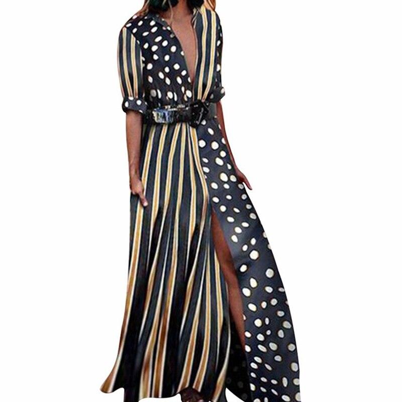 2019 Sexy Deep V Polka Dot Striped Patchwork Dress Women 2019 High Split Bohemian Long Dresses Vintage Turn-down Collar Dress