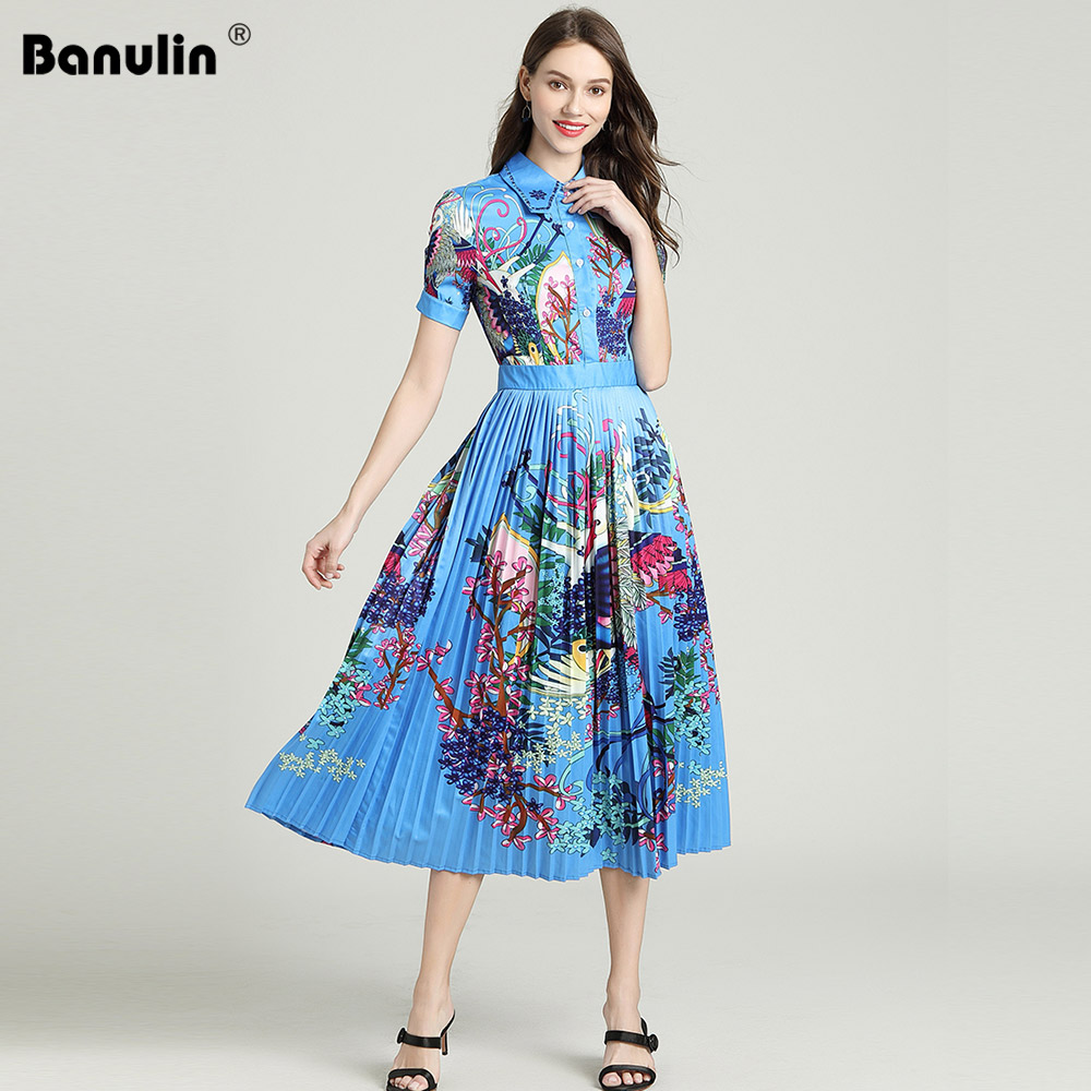 Banulin 2019 Runway Designer Autumn Dress Womens Short Sleeve  Casual Holiday Blue Floral Print Slim Pleated Elegant DressDresses   -