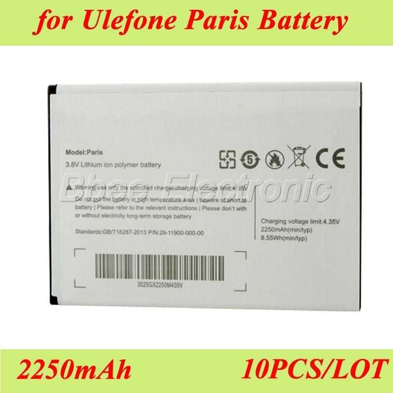 imágenes para 10 UNIDS/LOTE 2250 mAh Para Ulefone Paris/Paris X Batería Batería Batería Akku Acumulador PIL