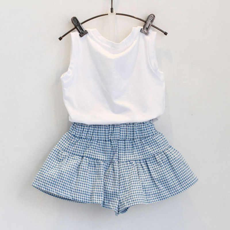女の子服セット 2019 夏のニューキッズ少女印刷弓半袖 Tシャツとショーツ 2 個 3 -7 歳の子供服