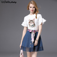 12 OAKS OF KATY Women Short Flare Sleeve Cute Cat Embroidery T Shirt With A Line