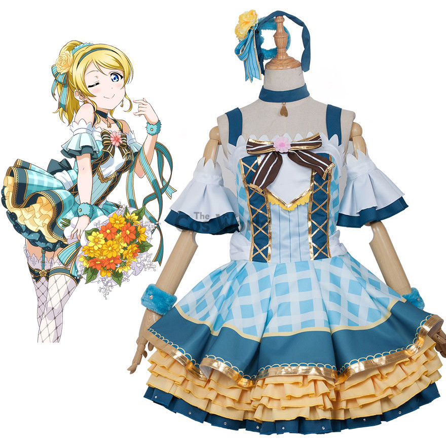 Love Live School Idol Project Ayase Eli Flower Bouquet Dress Uniform Outfit Anime Cosplay Costumes love live school idol project cyber video games ayase eli light up slip dress tee dress uniform outfit anime cosplay costumes