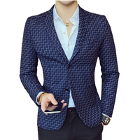 Men's Long Sleeve Plaid Suit Jackets XL 2XL 3XL Blue Red Black Fashion Business Casual Man Suits Blazers Gentleman Slim Elegant