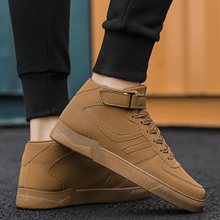 LettBao New Autumn Mens High Top Sneakers Fashion Men's Vulcanized Shoes Solid Color Sneakers Men PU Leather Flat with Men Shoes