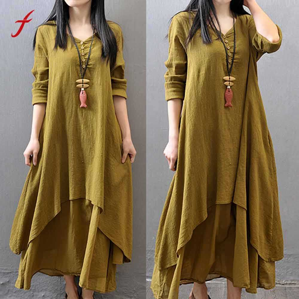 e33db4cd03 Women Dresses Casual Loose Long Sleeve Cotton Linen Boho Long Dress Party  Maxi Dress New Arrive