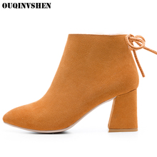 OUQINVSHEN Pointed To Square heel Women's Boots Casual Fashion Women Ankle Boots Zipper Riband High Heels 2017 New Ladies Boots