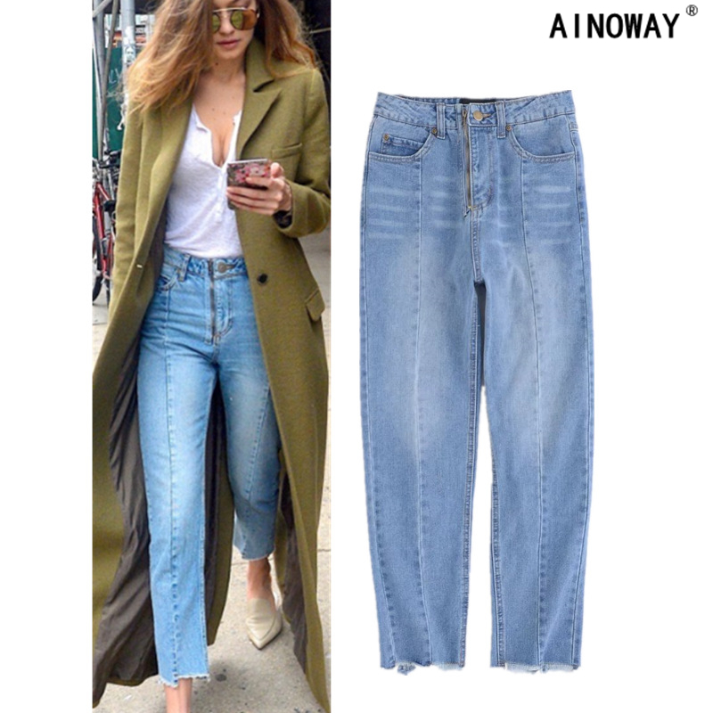 Summer fashion mom jeans women Slim Fit solid color jeans women's high waist straight jeans oversize S-L