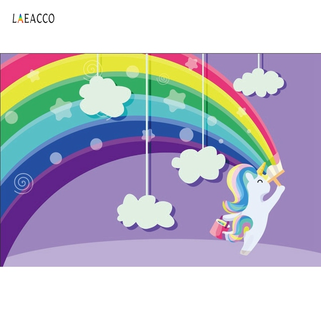 Rainbow Lovely Unicorn Birthday Party Backdrops For Photography Cloud Baby Poster Photo Backgrounds Photocall Photo Studio