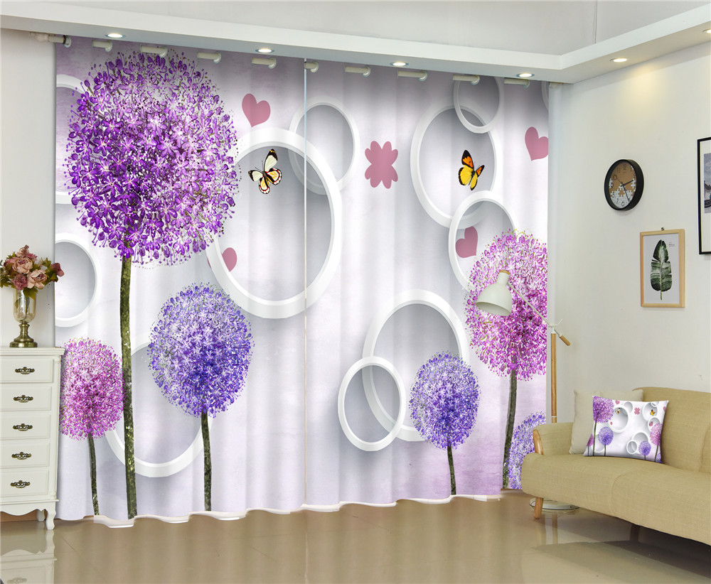 Curtains Dandelion Luxury Blackout 3D Curtains For Living Room office Decor Bedroom Drapes cortinas Rideaux Customized