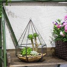 Hanging Six surface Diamond Glass Geometric Terrarium Plant Succulent Glass Flower Pot Wall Mount Hanging Planter