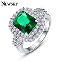 2017 NEWSKY 3.0Ct New Hot Fashion Unique Silver Plated Ring Natural Crystal Luxury Jewelry Brand Wedding Engagement For Women