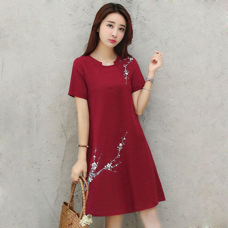 1 Pcs Women Short Sleeve Round Collar Printing Loose Dress Fashion for Summer -MX8