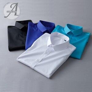 Image 5 - Alimens & עדין Mens במבוק סיבי טיפול קל שאינו ברזל ארוך שרוול שמלת חולצה בתוספת גודל 8XL 7XL 6XL צבע לבן שחור אדום סגול