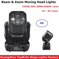 Beam Zoom Moving Head Lights High Quality 7X25W RGBW 4IN1 Osra m Stage Strobe Lights 110 240V For Dj Disco Lighting Projector