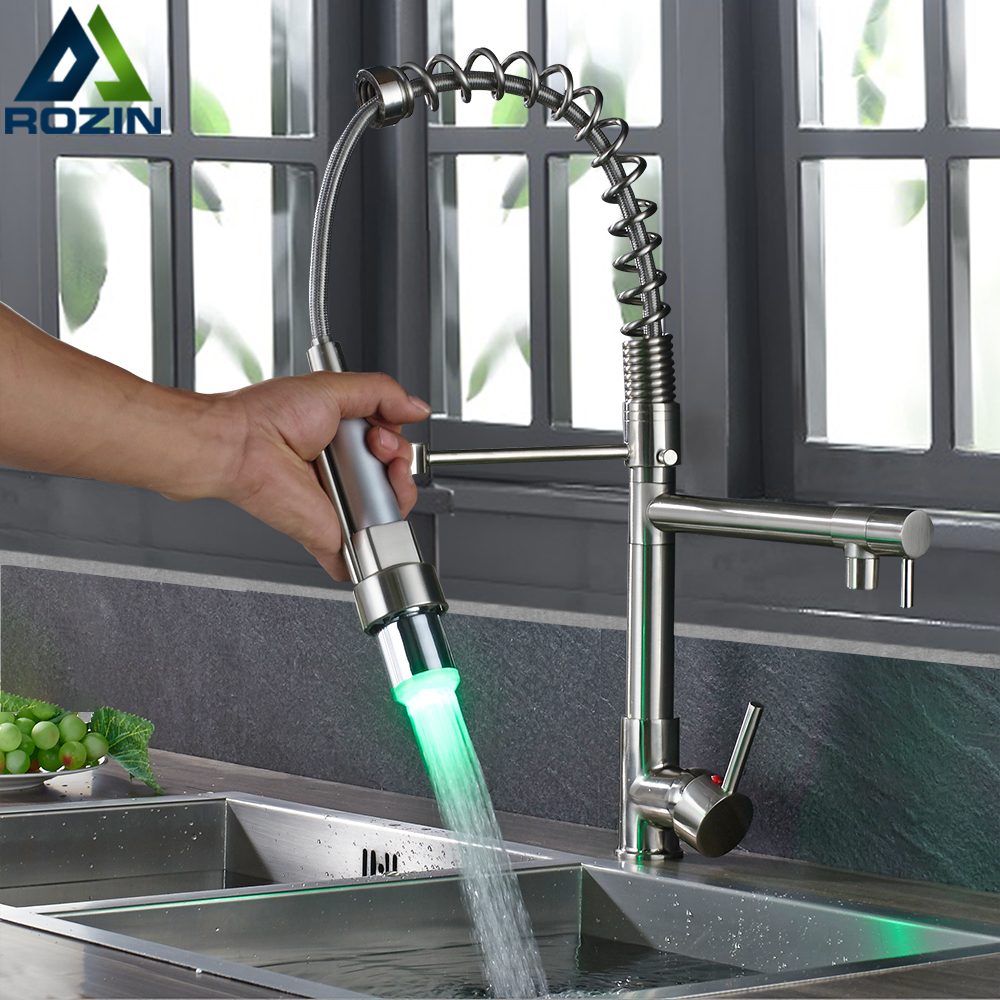 LED Color Changing Kitchen Faucet Mixer Tap Spring Polished Chrome Kitchen Crane Tap Deck Mounted Swive