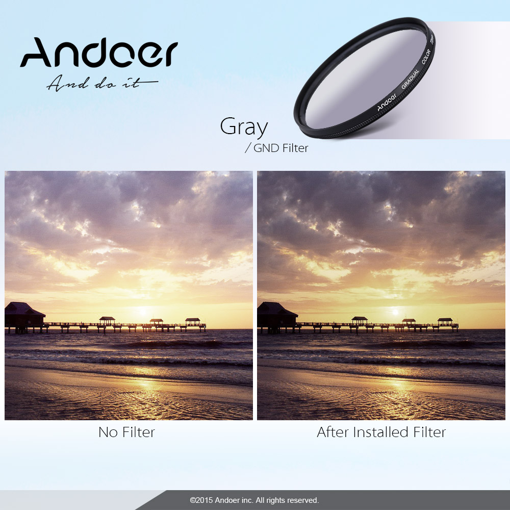 Andoer Professional 55mm GND Graduated Filter Set GND406 Neutral Density For Canon Nikon DSLR Cam Lens In Camera Filters From