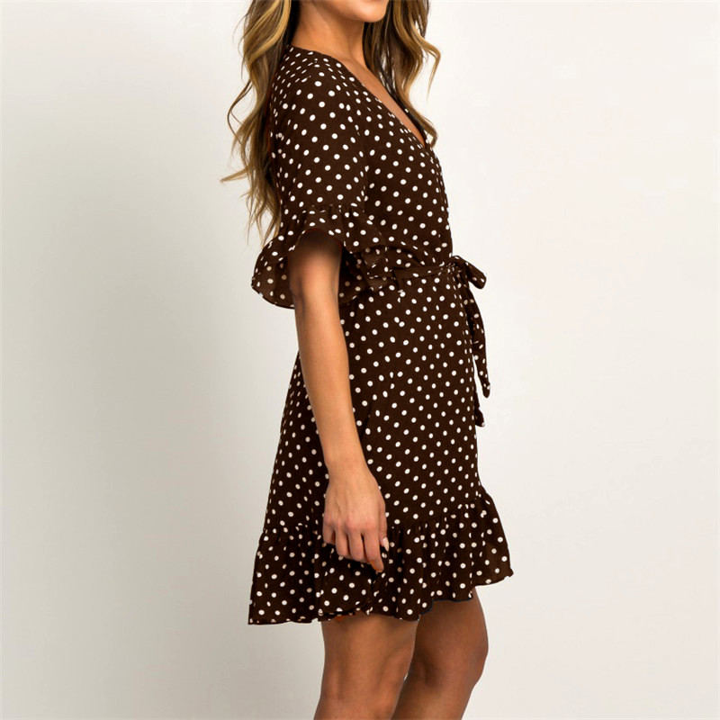 Summer Dress 19 Boho Style Beach Dress Fashion Short Sleeve V-neck Polka Dot A-line Party Dress Sundress Vestidos 21