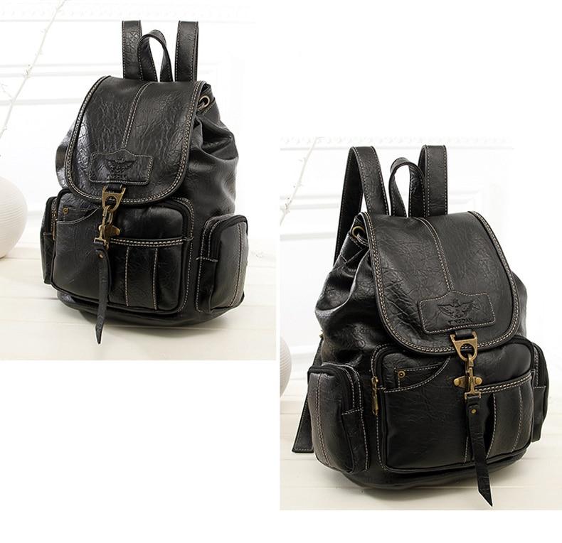HTB1WfaAbinrK1Rjy1Xcq6yeDVXac Vintage Women Backpack for Teenage Girls School Bags Large Drawstring Backpacks High Quality PU Leather Black Brown Bag XA658H